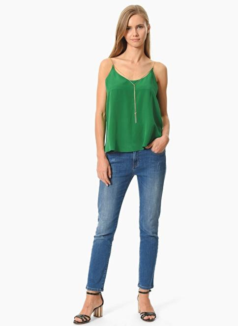 Network Askılı İpek Bluz Yeşil